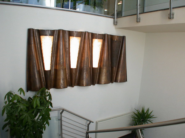 wandskulptur f r die firma biolac metallgestaltung. Black Bedroom Furniture Sets. Home Design Ideas